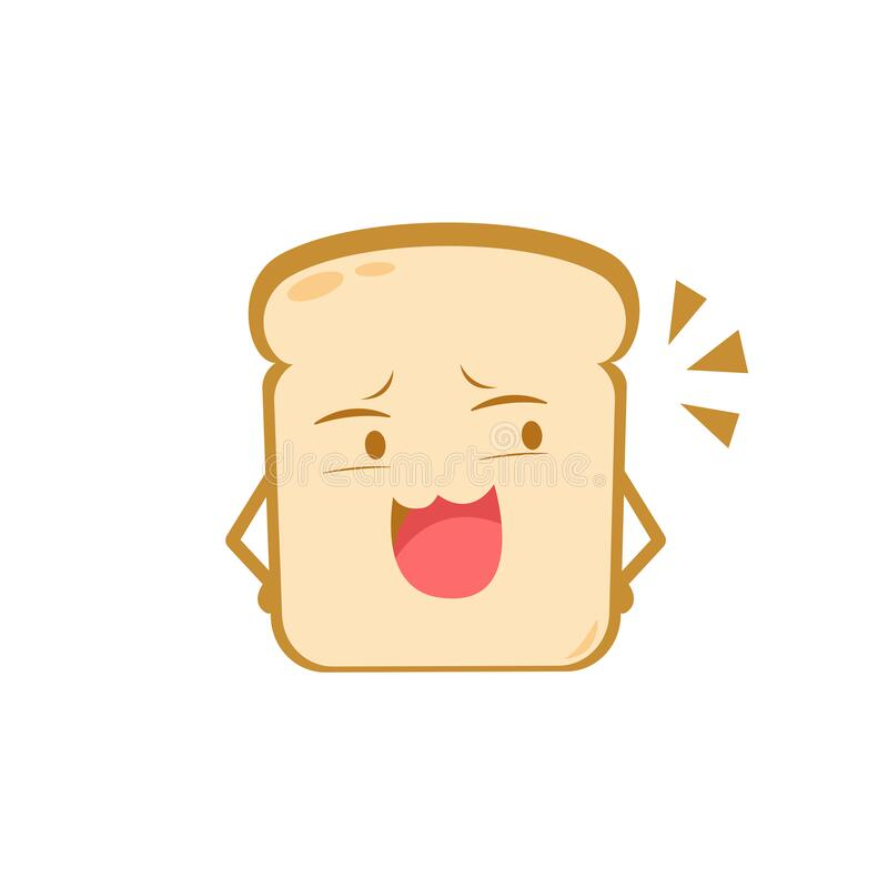 Funny cute bread character. Vector flat bread character mocking. isolated on white background. Bread character concept.  royalty free illustration