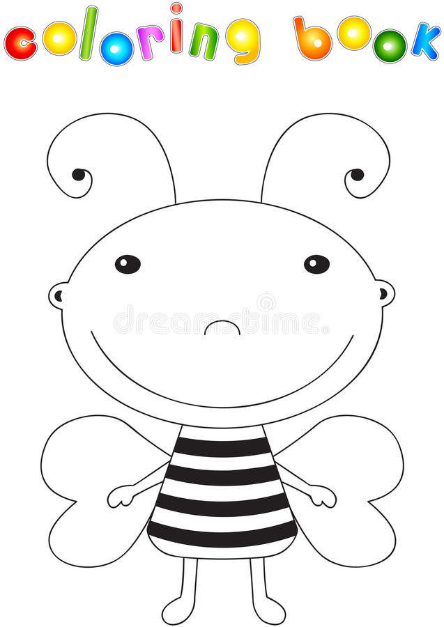 Funny cute cartoon bee. Educational coloring book royalty free illustration