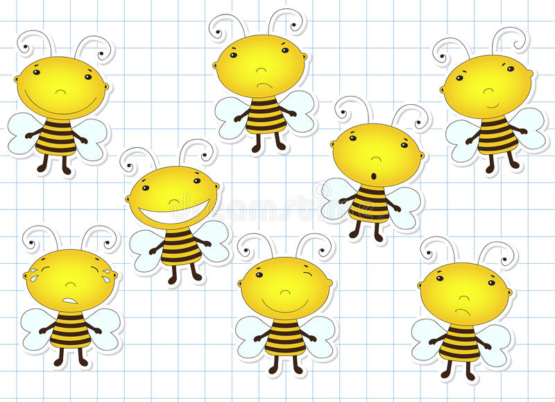 Funny cute cartoon bee. Emotions: sadness, joy, laughter, sarcas stock illustration