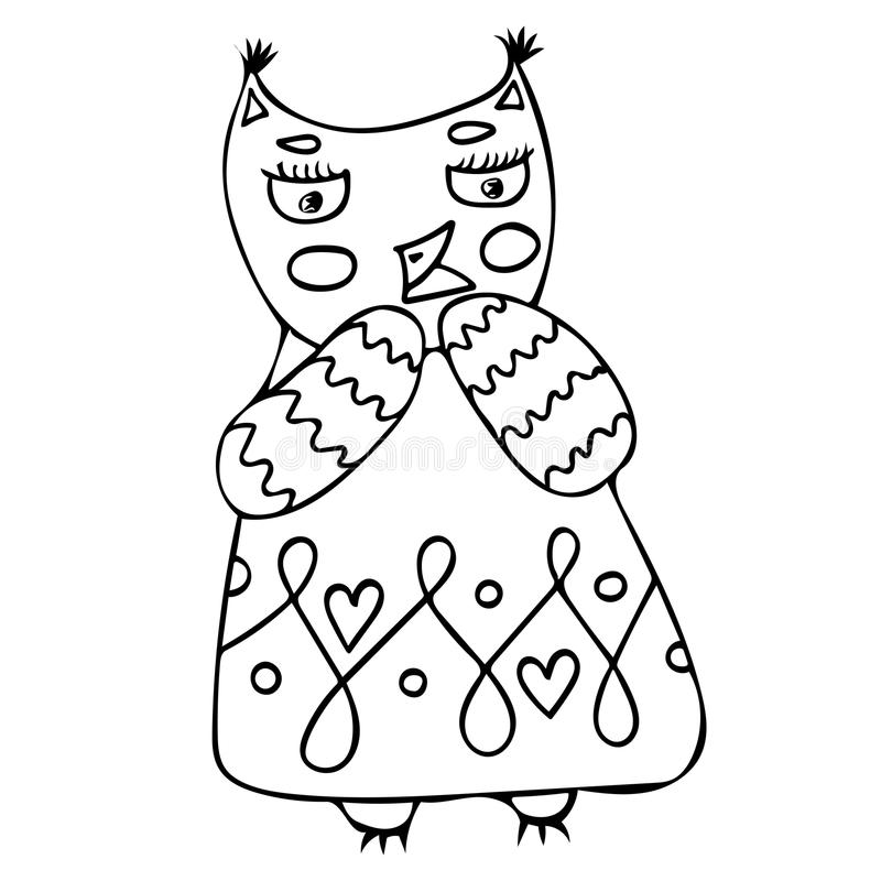 Funny cute cartoon character owl stock illustration
