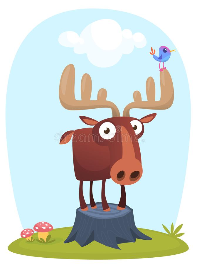 Funny cute cartoon moose character standing on the meadow background with a gras mushroom and flowers. Vector moose illustration. Isolated royalty free illustration