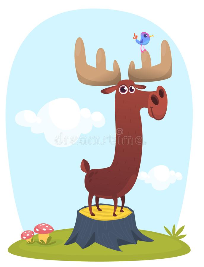 Funny cute cartoon moose character standing on the meadow background with a gras mushroom and flowers. Vector moose illustration. Isolated stock illustration