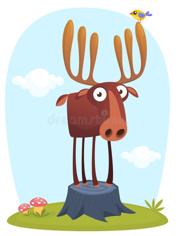 Funny cute cartoon moose character standing on the meadow background with a gras mushroom and flowers. Vector moose illustration vector illustration