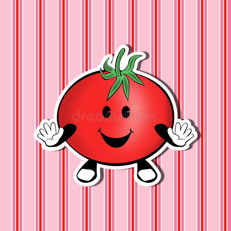 Smiling Cute Tomato on a nice background. Funny cute cartoon smiling tomato on a nice decorative background stock illustration