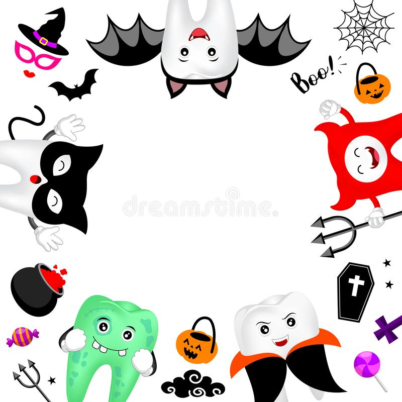 Funny cute cartoon tooth character with copy space. Zombie, devil, Dracula, bat, black cat and Halloween ornaments. royalty free illustration