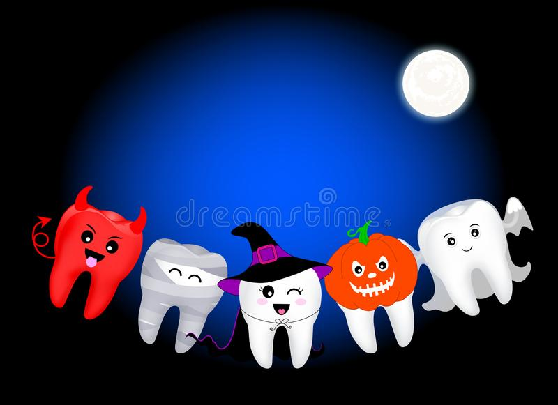 Funny cute cartoon tooth character. Mummy, Devil, Witch, pumpkin and ghost in moon night. Happy Halloween concept. Design for banner, poster, greeting card stock illustration