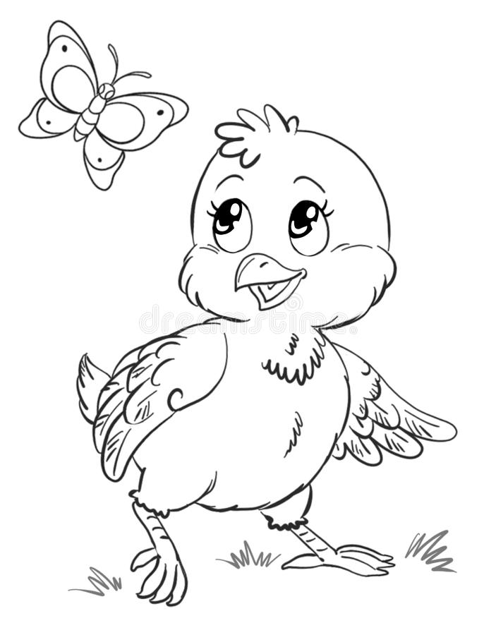 Funny cute chicken coloring page royalty free stock photo