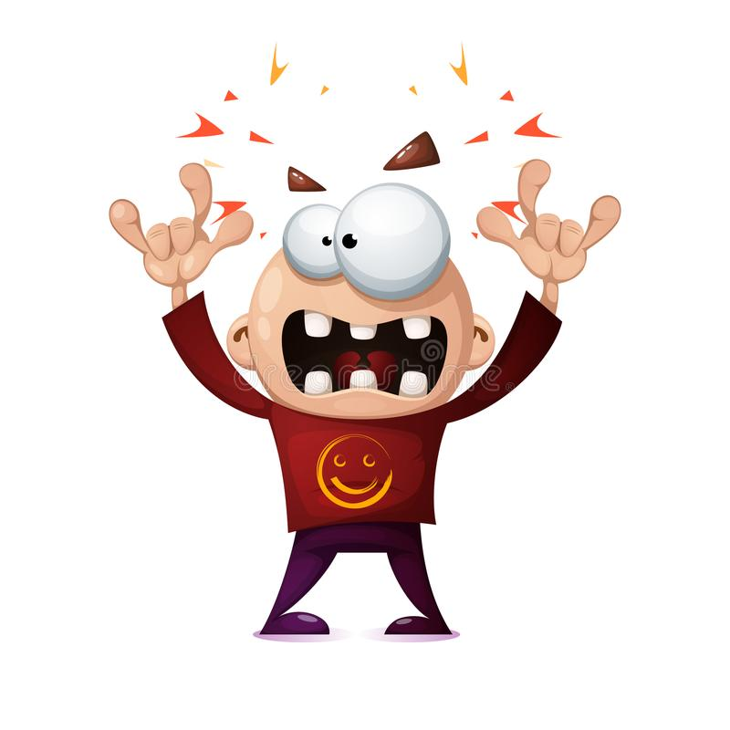 Funny, cute, crazy cartoon rock man. royalty free illustration