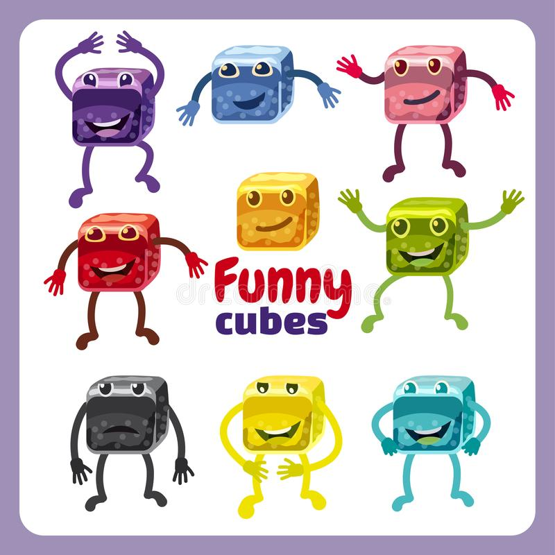 Funny cute cubes colorful candy button glossy jelly in different color. 2d asset for user interface GUI in mobile. Block puzzle colorful candy button glossy royalty free illustration