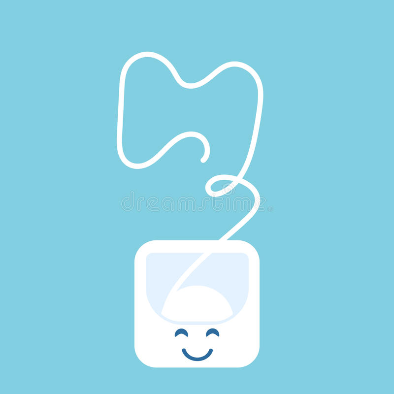 Funny and cute dental floss. Flat design. Green background stock illustration