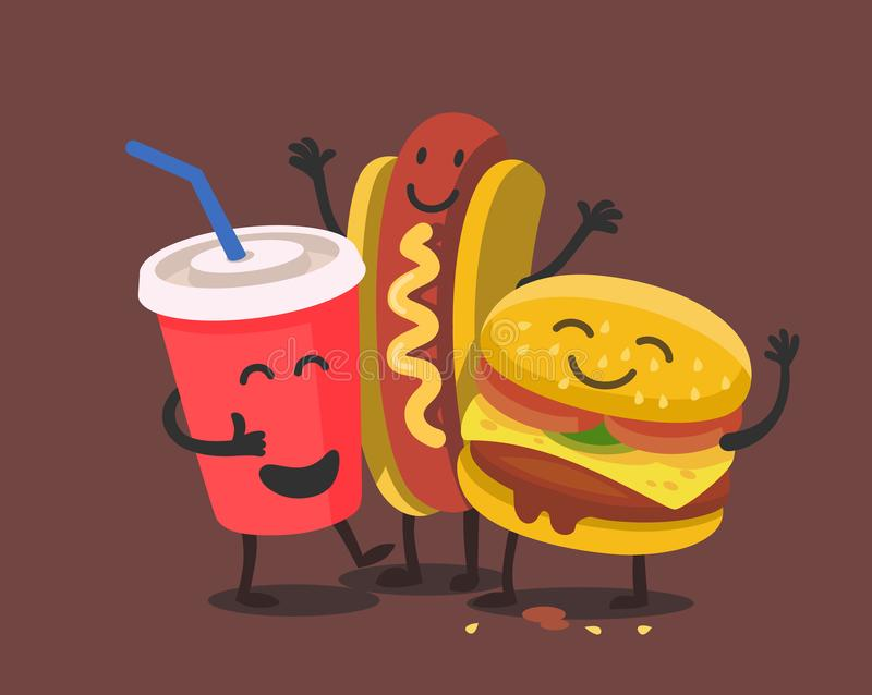 Funny cute fast food. royalty free illustration