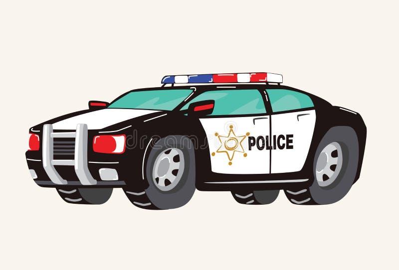 Funny cute hand drawn cartoon Police Car. Toy Cartoon Police Car. Toy Vehicles for Boys. Vector illustration royalty free illustration