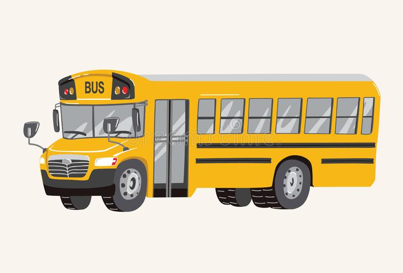 Funny cute hand drawn cartoon School Bus Illustration. Toy Yellow School Bus. Toy Vehicles for Boys. Vector illustration vector illustration