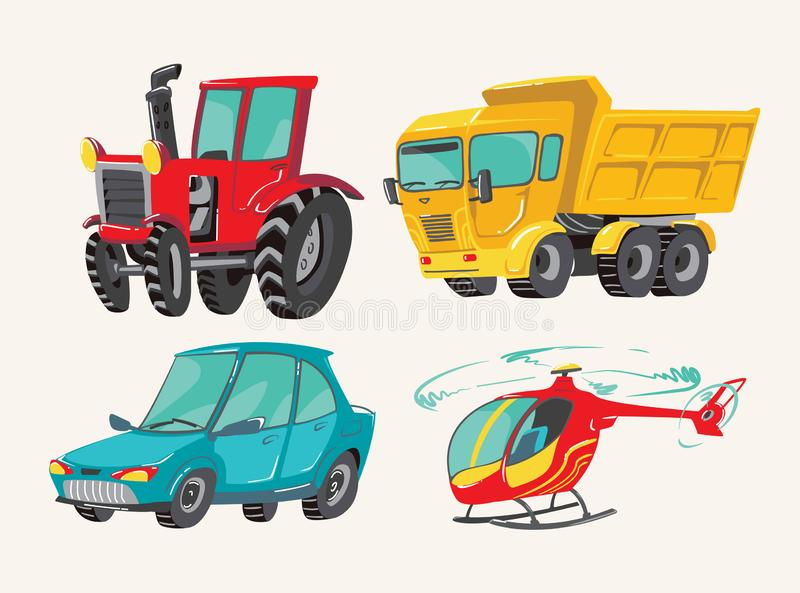 Funny cute hand drawn cartoon vehicles. Baby bright cartoon helicopter, big truck, car, and tractor. Transport child stock illustration