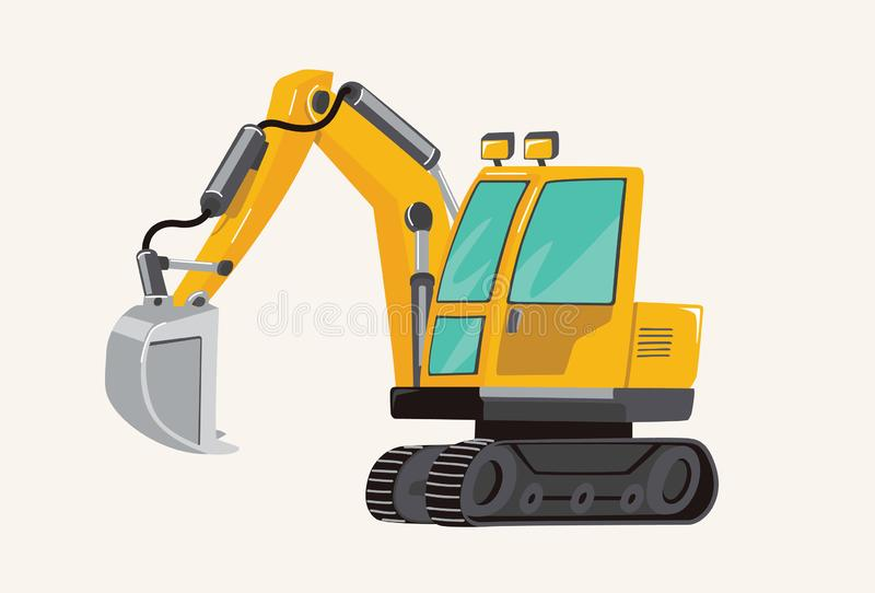 Funny cute hand drawn cartoon vehicles. Toy Car. Bright cartoon yellow Excavator, pecial Machines for the Building Work vector illustration