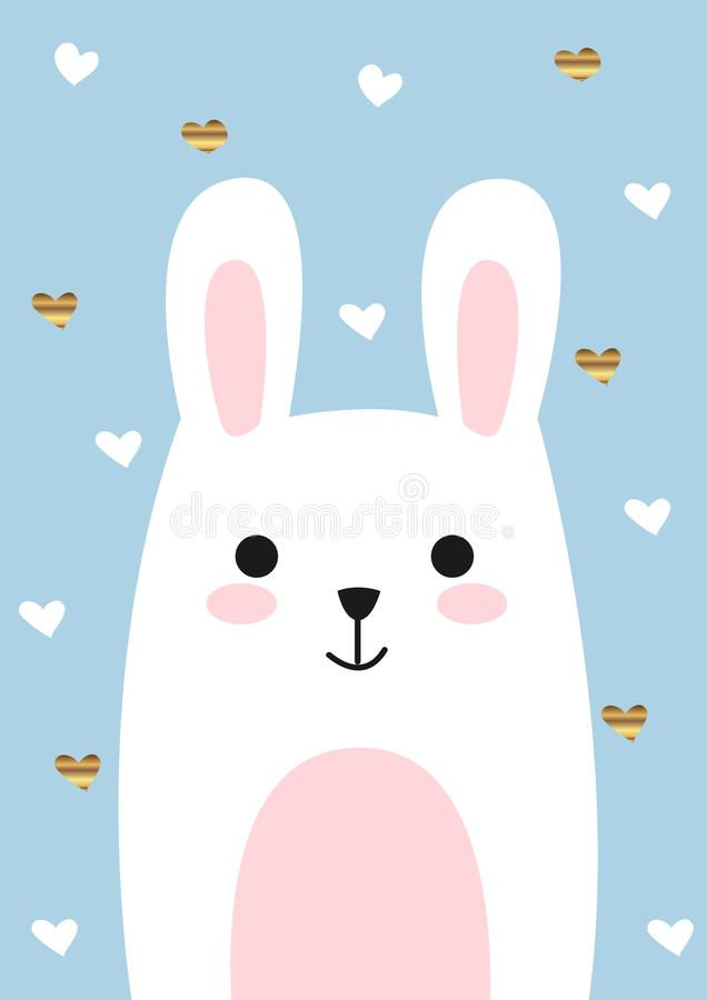 Funny and cute happy white bunny. Perfect for your nursery room decor or house warming royalty free illustration