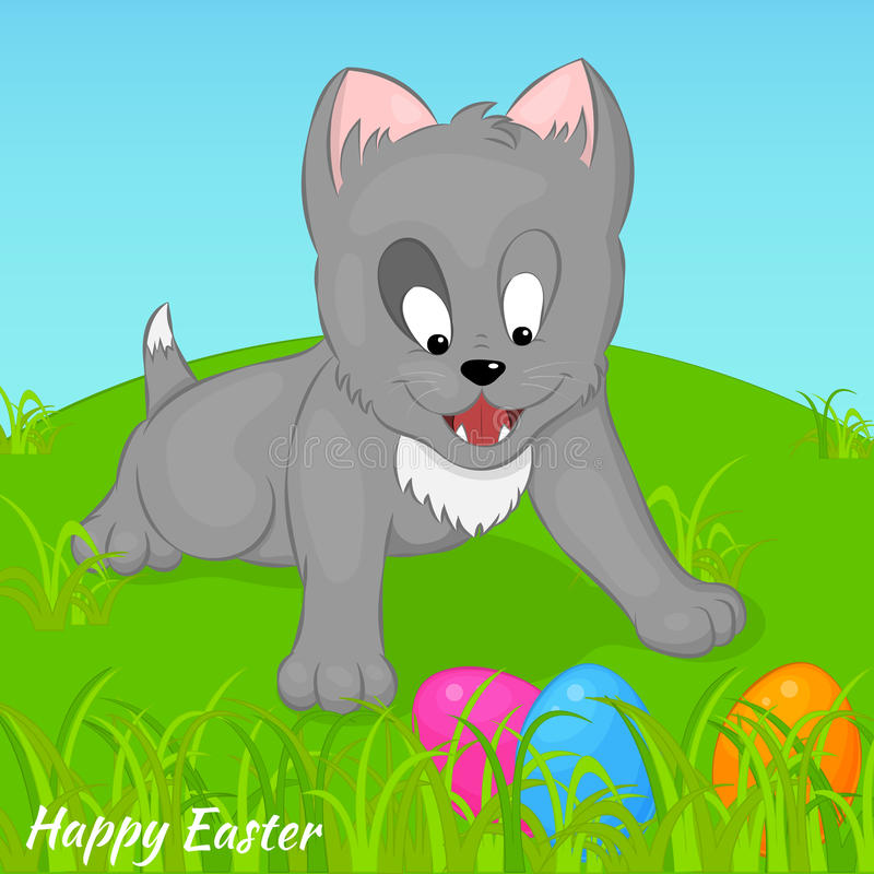 Funny and cute kitten found Easter eggs. Holiday background, greeting card, poster or placard template in cartoon style vector illustration