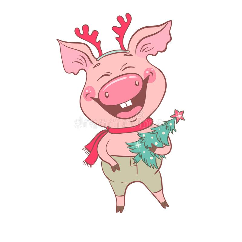 Funny cute laughing pig with Christmas deer horns on his head vector illustration