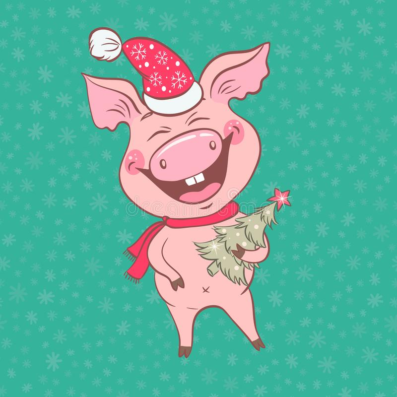 Funny cute laughing pig with Christmas deer horns on his head stock illustration