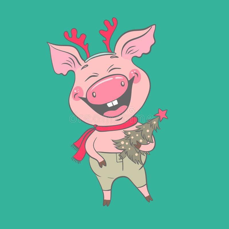 Funny cute laughing pig with Christmas deer horns on his head. stock illustration