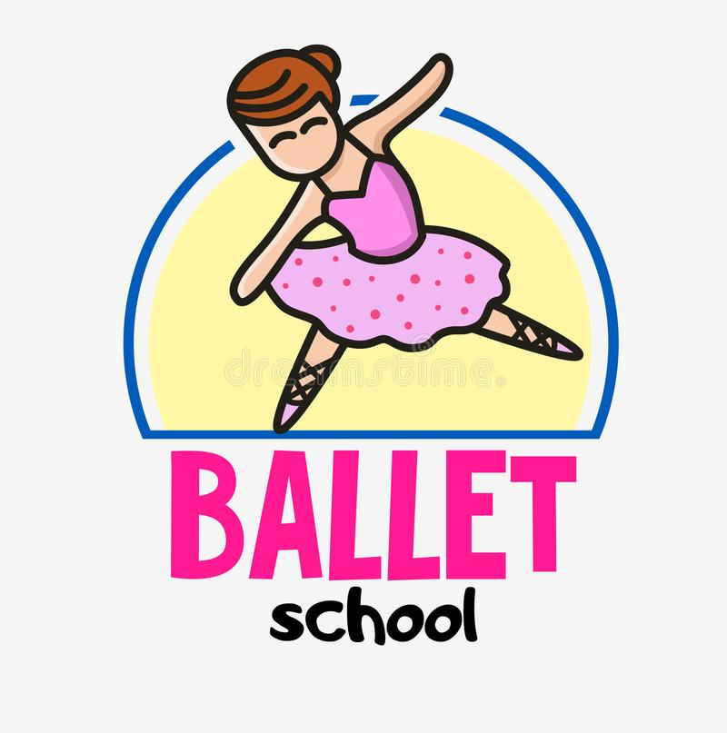 Funny cute little ballerina. Ballet girl mascot. Dance school logo concept in children style. Vector logotype template. Creative web icon royalty free illustration