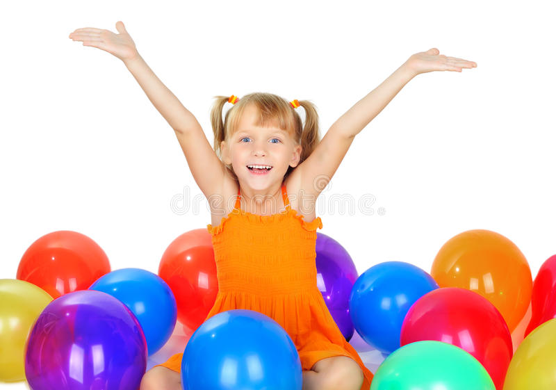Funny Cute Little Girl With Baloons Royalty Free Stock Photo
