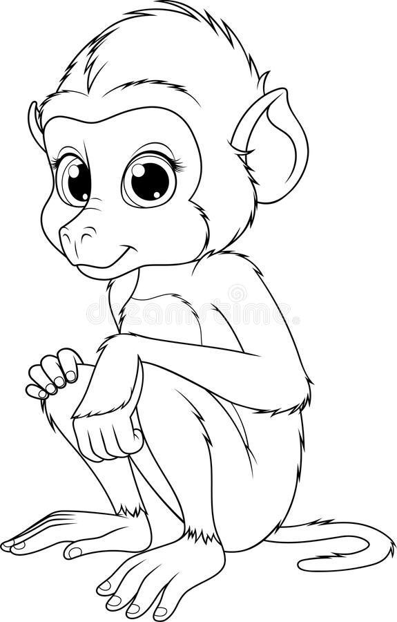 Funny cute monkey stock illustration