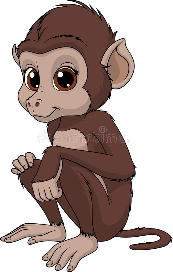 Funny cute monkey stock illustration