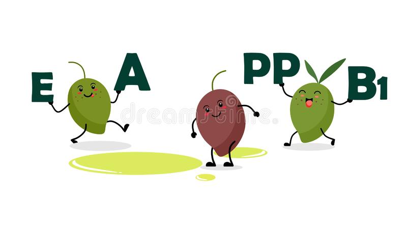 Funny and cute olives hold letters with vitamins in their hands. Vector kawaii olives on white background with vitamins. Funny and cute olives hold letters with vector illustration