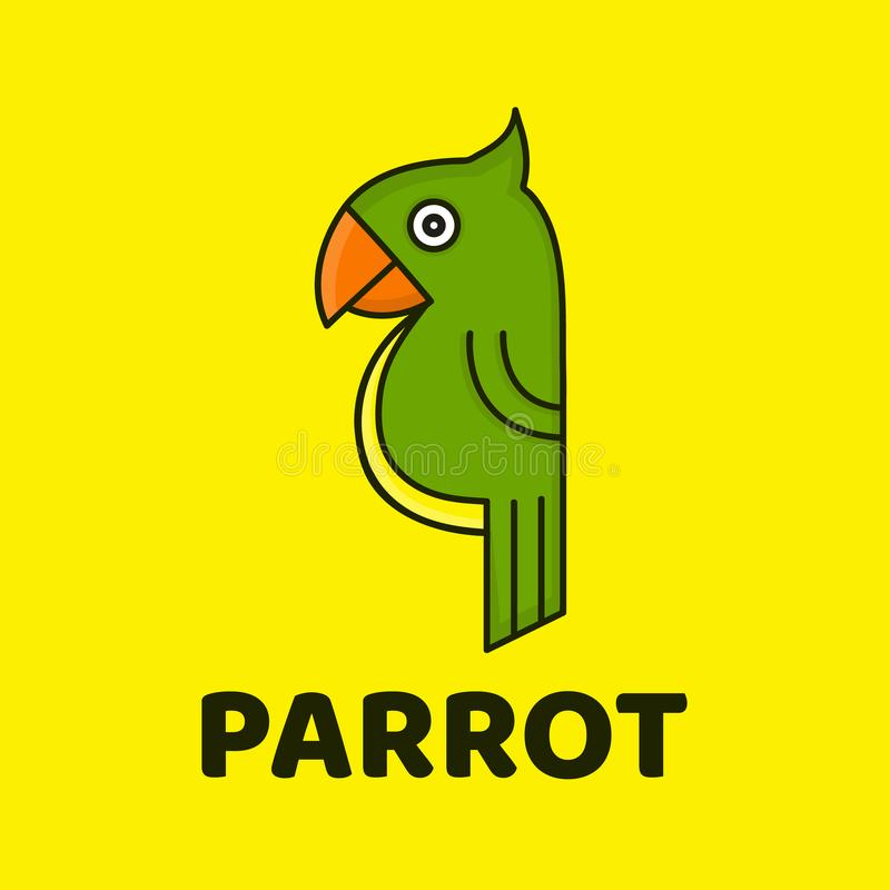 Funny cute parrot. Vector modern style flat vector illustration