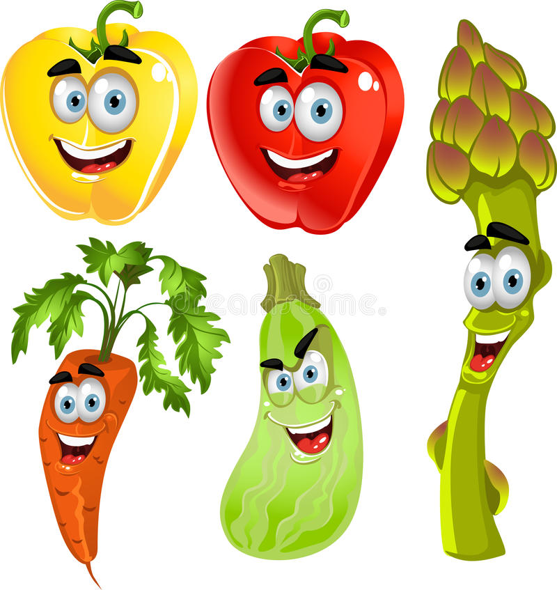 Download Funny Cute Peppers,asparagus,carrots,zucchini Stock Illustration - Illustration of food, cucumber: 21944529