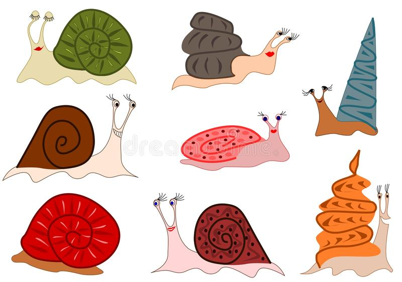 Download Funny cute snails stock illustration. Image of animal - 22374681