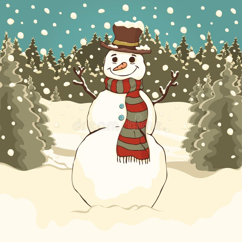 Funny cute snowman, cartoon colorful drawing, vector illustration. Painted snowman with hat and scarf in the winter forest park ag. Ainst the background of royalty free illustration