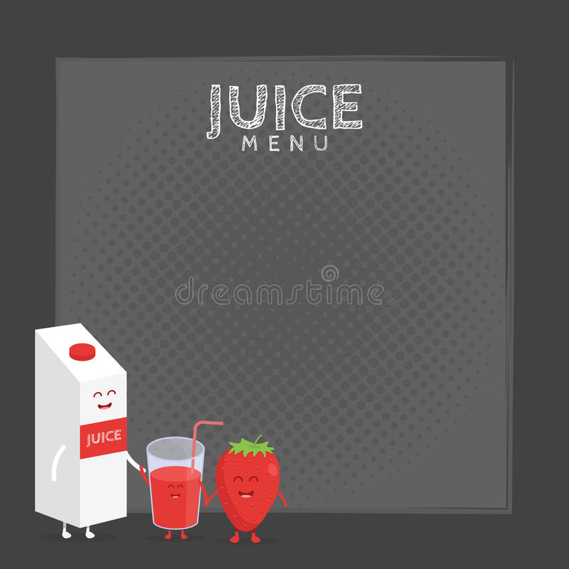 Funny cute strawberry juice packaging and glass drawn with a smile, eyes and hands. vector illustration