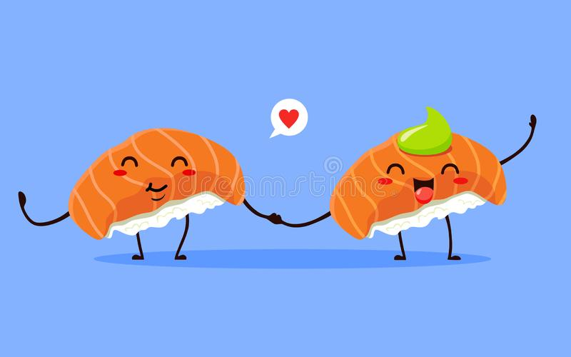 Funny and cute sushi. Japanese food. Vector isolates royalty free illustration