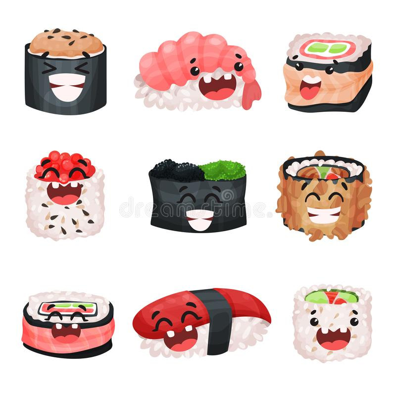 Funny cute sushi and sashimi cartoon characters set, Japanese food with funny faces vector Illustrations royalty free illustration