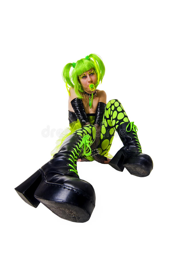 Free Funny Cyber Goth Girl With Bright Green Hair Stock Photography - 13603442