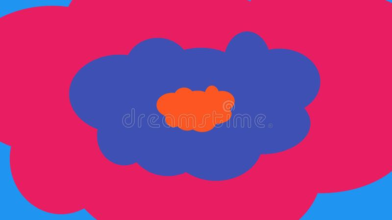 Cartoon background with hilarious clouds. A funny 3d illustration of colorful cartoon clouds imposed on each other. The smallest is orange, the middle is violet vector illustration