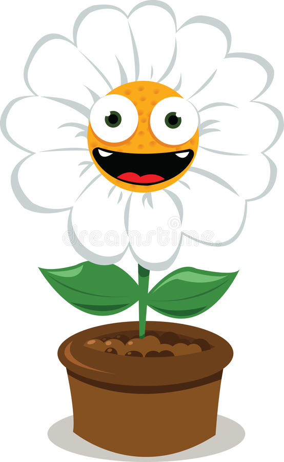 Download Funny Daisy in a Pot stock vector. Image of mouth, vitality - 26944552