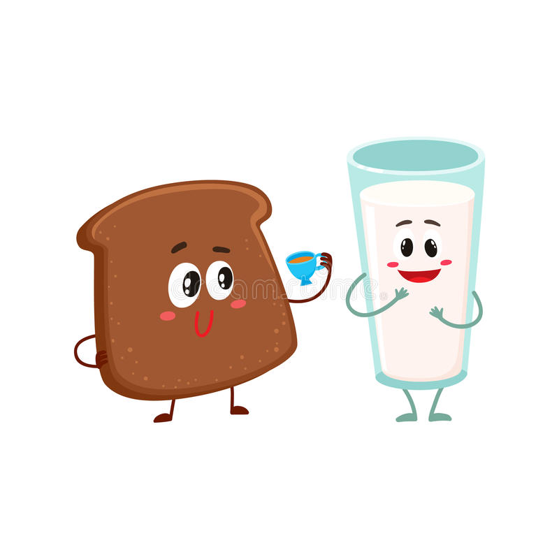 Funny dark, brown bread slice and milk glass characters vector illustration
