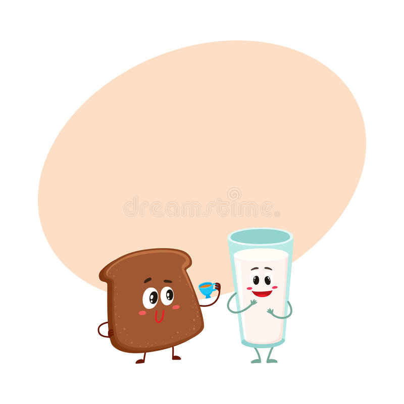 Funny dark, brown bread slice and milk glass characters. Breakfast combination, cartoon vector illustration with space for text. Brown bread slice and glass of stock illustration