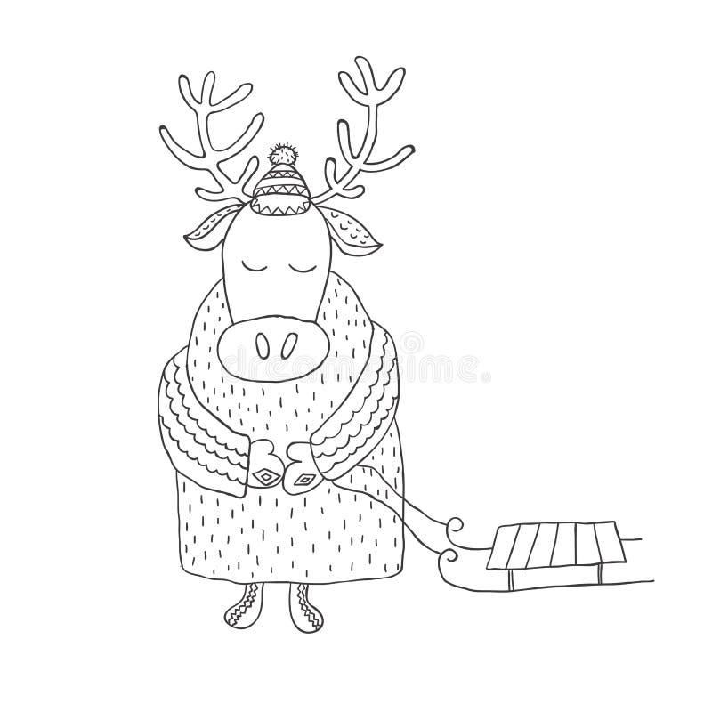 Funny deer with a sleigh. Nursery art. Minimalist scandinavian royalty free illustration