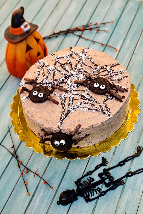 Funny and delicious cake for Halloween stock image