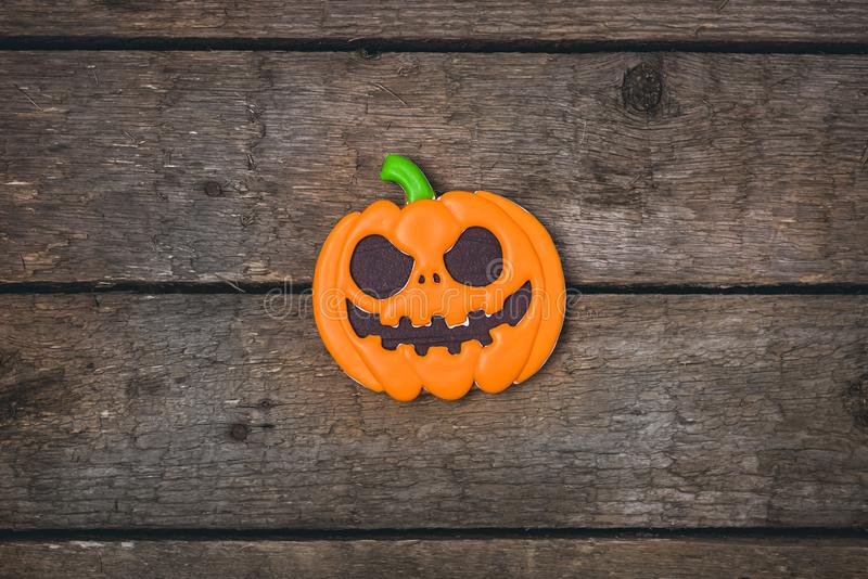 Delicious Ginger Biscuits for Halloween on Wooden Background Halloween Background Gingerbread in Shape of Pumpkin Horizontal View stock image