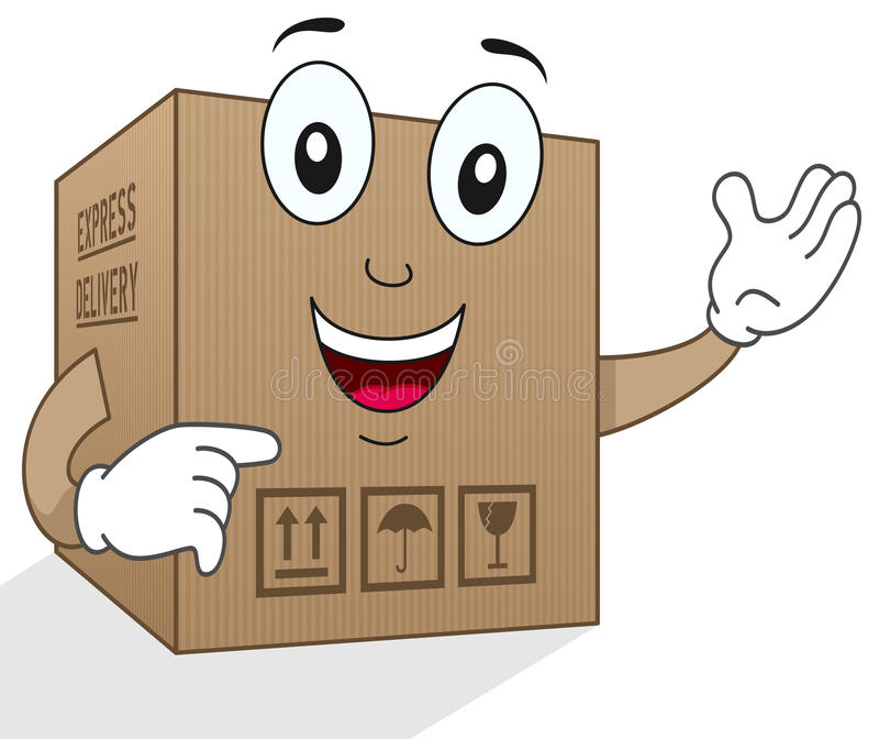 Download Funny Delivery Cardboard Box Character Stock Vector - Image: 41184795