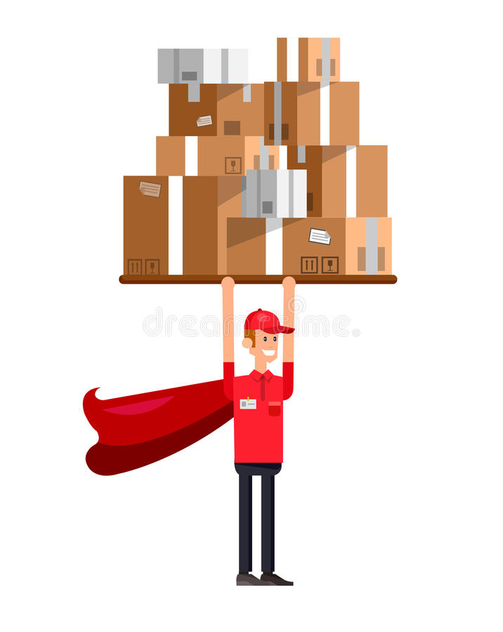 Funny Delivery character man. As a superhero holding postal boxes. Vector detailed illustration royalty free illustration