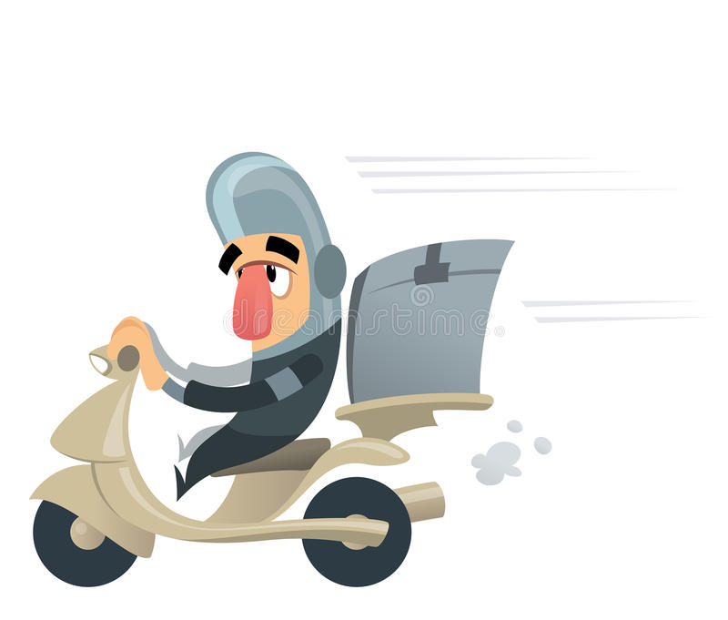 Funny delivery courier man delivering with scooter case. Funny courrier character with helmet delivering mail packages or food with his motorbike casing royalty free illustration