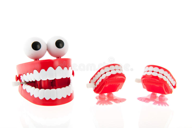 Funny denture. With eyes isolated over white background royalty free stock images