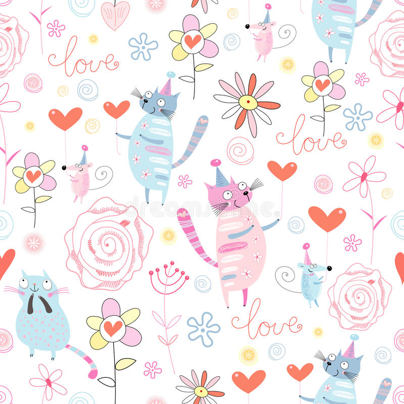Funny design with cats and mice. Festive fun pattern with cats and mice with hearts on white background royalty free illustration