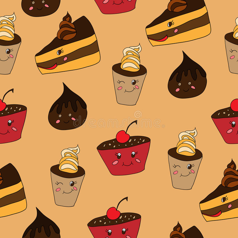 Funny desserts pattern. Funny desserts seamless pattern on a beige background vector illustration